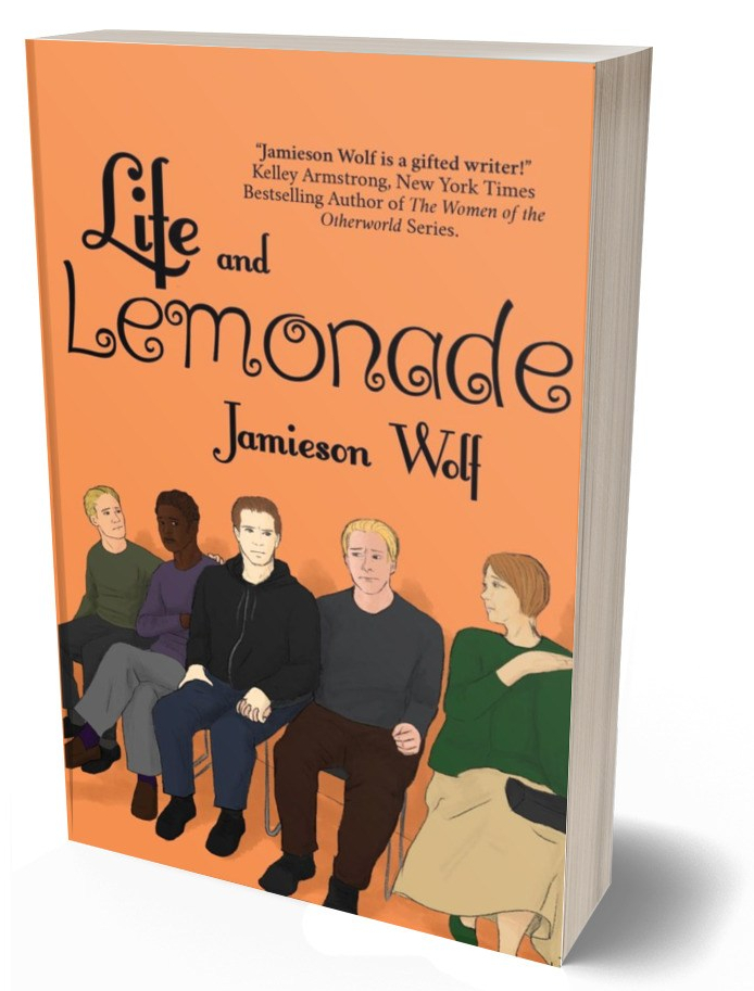 "ID, book cover: Orange background with five people sitting in a waiting room looking worried. Text reads: Life and Lemonade, Jamieson Wolf. With a quotation that reads: ""Jamieson Wolf is a gifted writer!"" Kelly Armstrong, New York Times Bestselling Author of The Women of the Otherworld Series"