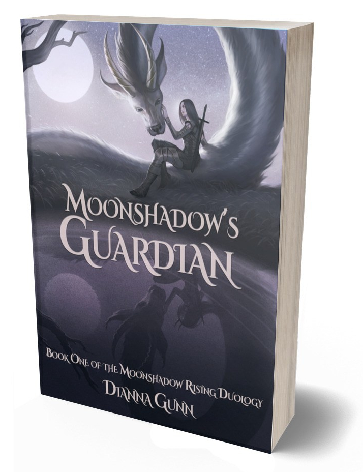 ID, book cover: Image in shades of purple. Full moon in a starry sky. Young woman in armour sits on furry dragon, petting its face. Text reads: Moonshadow's Guardian, Book One of the Moonshadow Rising Duology.