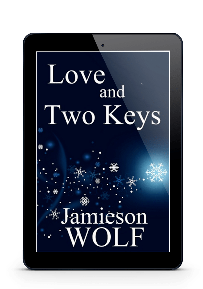 ID: Tablet displaying the cover of Love adn Two Keys. Navy blue background with blue and white snowflakes. Text reads: Love and Two Keys, Jamieson Wolf