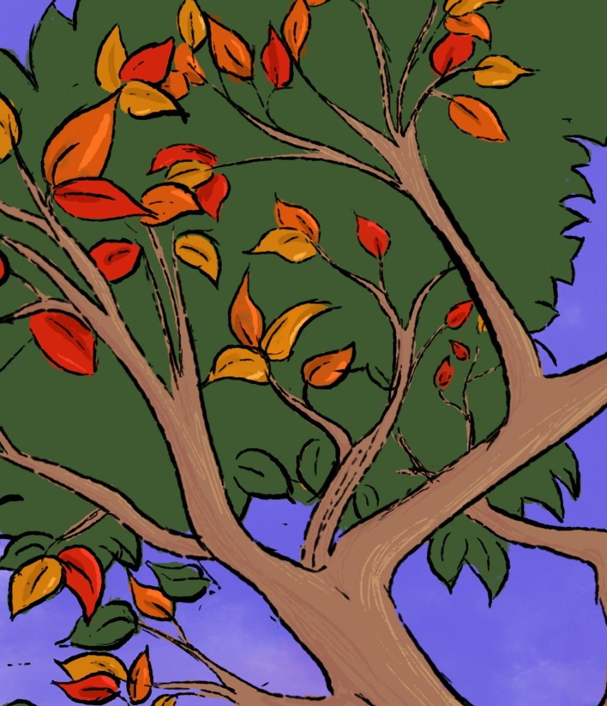 Book cover teaser: A tree just turning with autumn leaves against a purple sky.